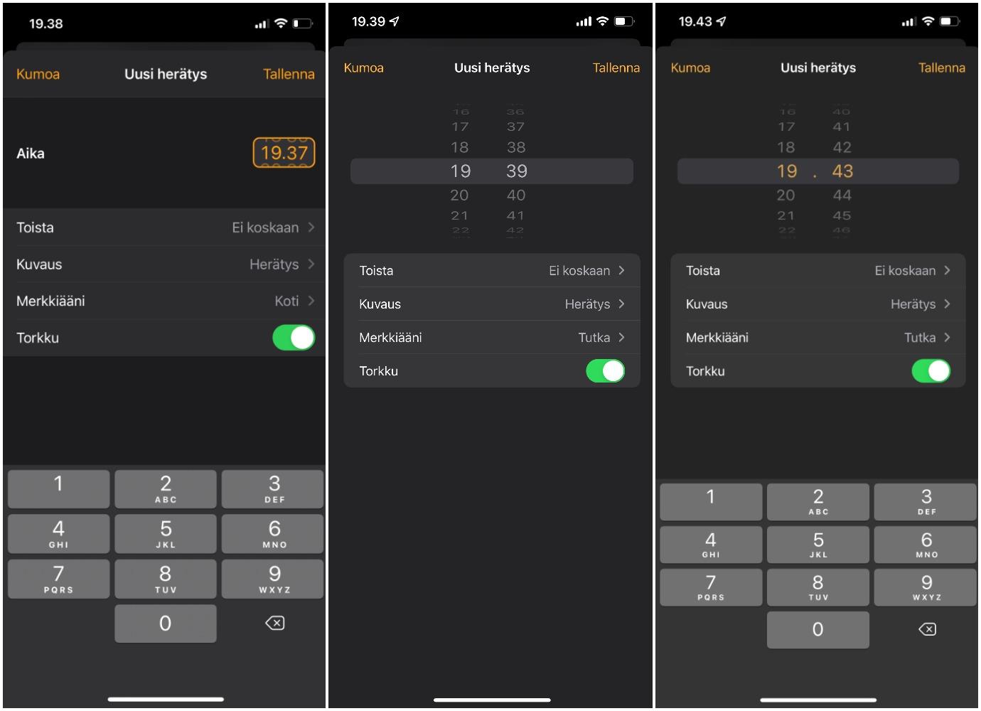 Vasemmalla iOS 14, keskellä iOS 15, ja oikealla iOS 15 sen jälkeen, kun valitsinta on painettu.