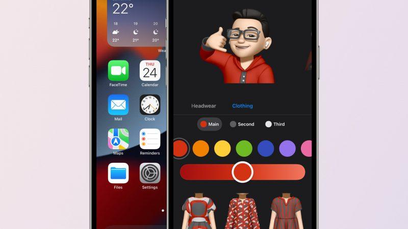 iOS 15 beta 2 tuo esimerkiksi uuden Kartat-sovelluksen kuvakkeen ja Memojien vaatetuksen kustomoinnin. Kuva: 9to5Mac.