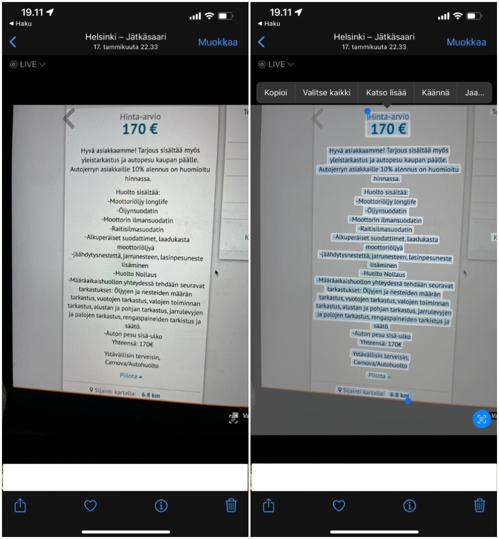 Toinen esimerkki tallennetusta kuvasta tietokoneen näytöltä. Kuva on helposti löydettävissä haulla ja teksti tarvittaessa kopioitavissa.