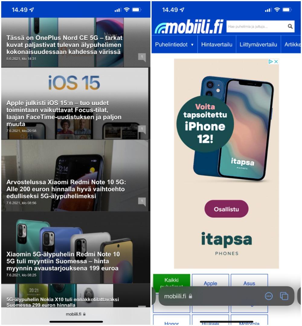 Safarin käyttöliittymä uudistuu iOS 15:ssä. Yläreunan tilapalkki on väriltään sivuston teeman mukainen. Vasemmassa kuvassa alareunan kelluva palkki on typistynyt selattaessa alareunaan, oikealla palkki on näkyvissä. Pyyhkäisemällä palkin päällä sivusuunnassa voi siirtyä eri välilehtien välillä.
