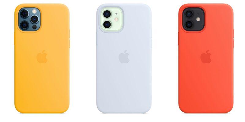 iPhone 12 -puhelinten silikonisuojakuoren uudet värivaihtoehdot: auringonkukka, pilvensininen ja loimuoranssi.