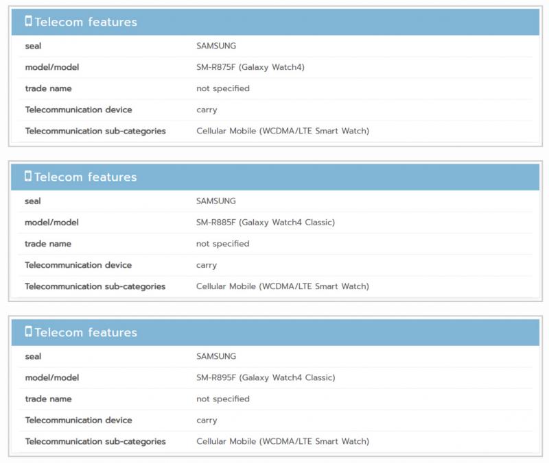 NBTC-tietokannasta löytyvät maininnat kahdesta Galaxy Watch4 Classic -variantista.