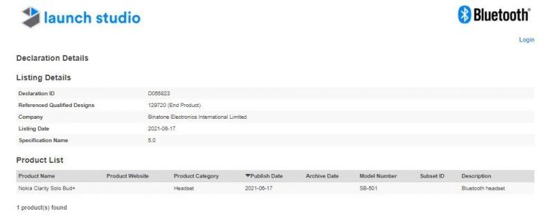 Nokia Clarity Solo Bud+ Bluetooth-tietokannassa.