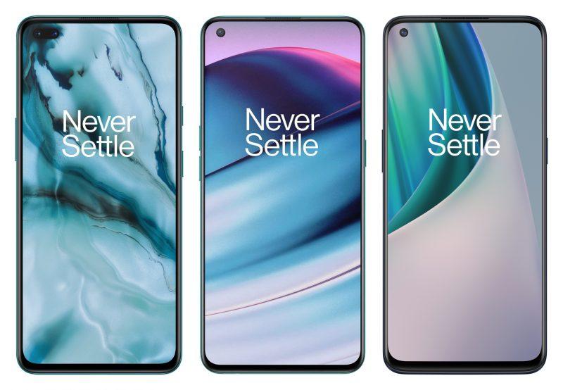 OnePlus Nord, OnePlus Nord CE 5G ja OnePlus Nord N10 5G edestä. Kuvat eivät tarkasti mittakaavassa.