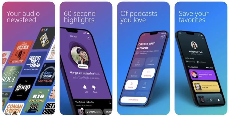 Podz-sovellus on koostanut podcasteista taustateknologiallaan automatisoidusti 60 sekunnin kohokohtaklippejä.