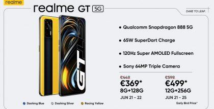 Realme GT 5G:n hinnat Euroopassakin ovat edulliset, erityisesti avajaistarjouksena.