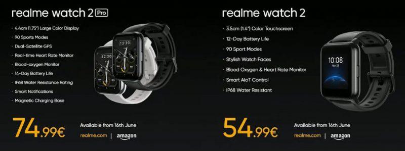 Realme Watch 2 Pro ja Watch 2.