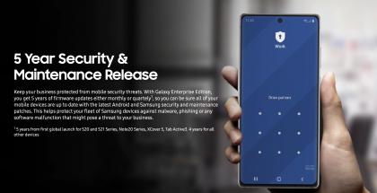 Samsung Enterprise Edition -laitteille luvataan viisi vuotta päivityksiä.