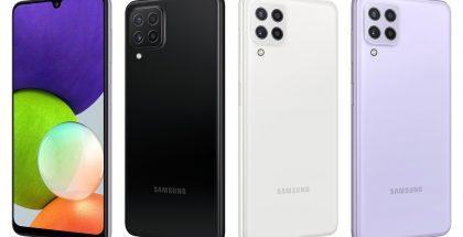 Samsung Galaxy A22 eri väreinä.