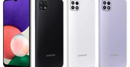 Samsung Galaxy A22 5G eri väreissä.