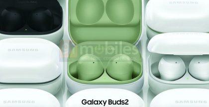 Galaxy Buds2 -kuulokkeet 91mobiles-sivuston paljastamassa kuvassa. Mukana uusi vihreä värivaihtoehto.