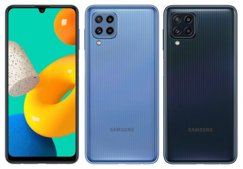 Samsung Galaxy M32:n vaaleansininen ja musta värivaihtoehto.