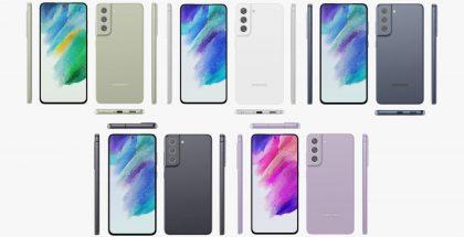 Samsung Galaxy S21 FE eri väreissä. Kuvat: Evan Blass / Twitter.
