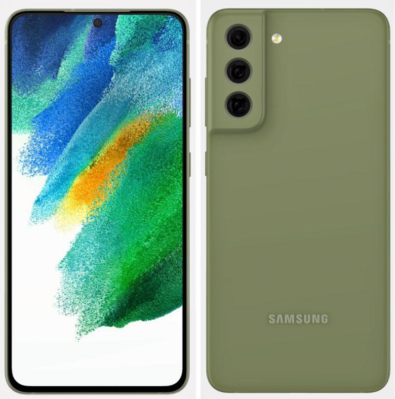 Samsung Galaxy S21 FE vihreänä. Kuva: Evan Blass / Twitter.