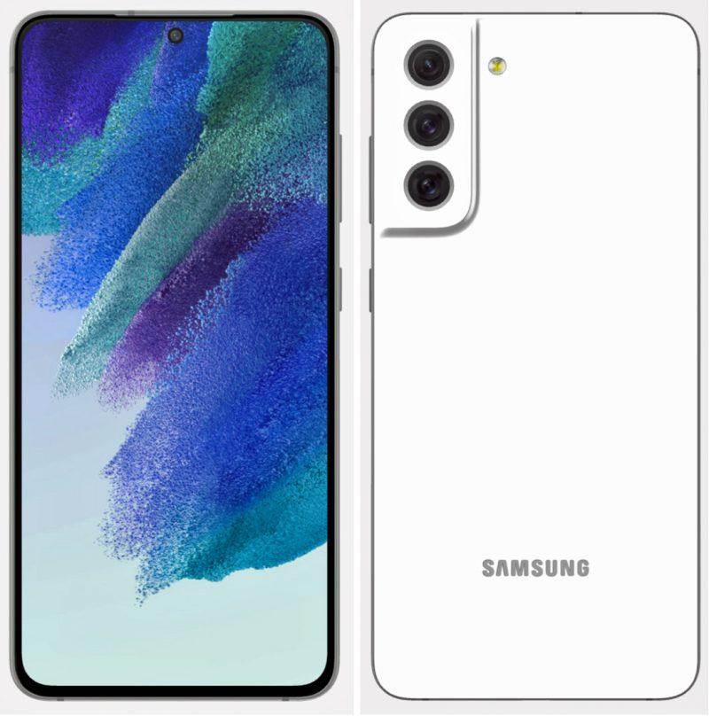 Samsung Galaxy S21 FE valkoisena. Kuva: Evan Blass / Twitter.