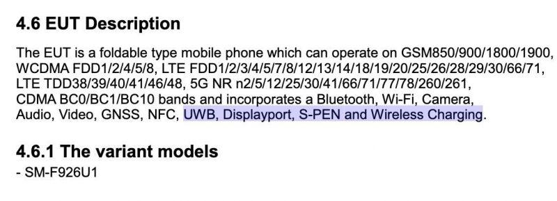 UWB ja S Pen mainittu Galaxy Z Fold3:n osalta.