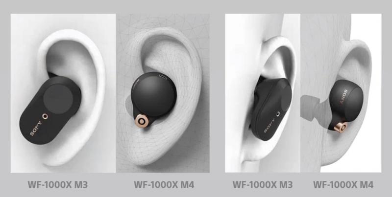 Sony WF-1000X M4 -kuulokkeet ovat muotoilultaan pyöreämmät - ja kooltaan hieman pienemmät.