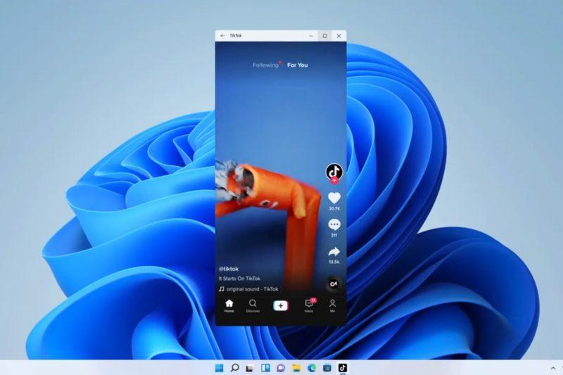 TikTokin Android-sovellus Windows 11:ssä.