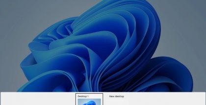 Windows 11:n työpöytien vaihtonäkymä. Taustalla uusi taustakuva. Kuva: XDA Developers.