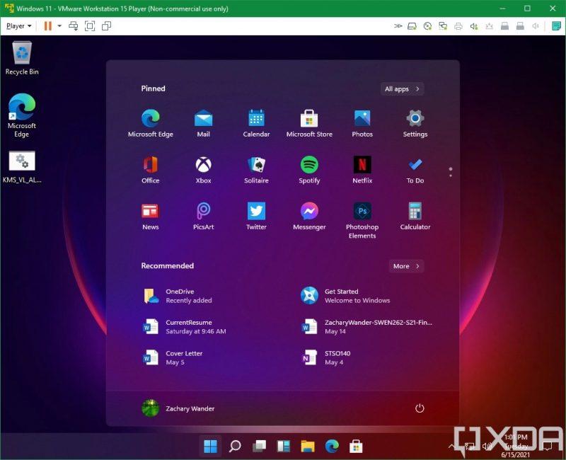 Windows 11:n aloitusvalikko sisältää sovelluksia, ehdotuksia ja virtapainikkeen. Kuva: XDA Developers.