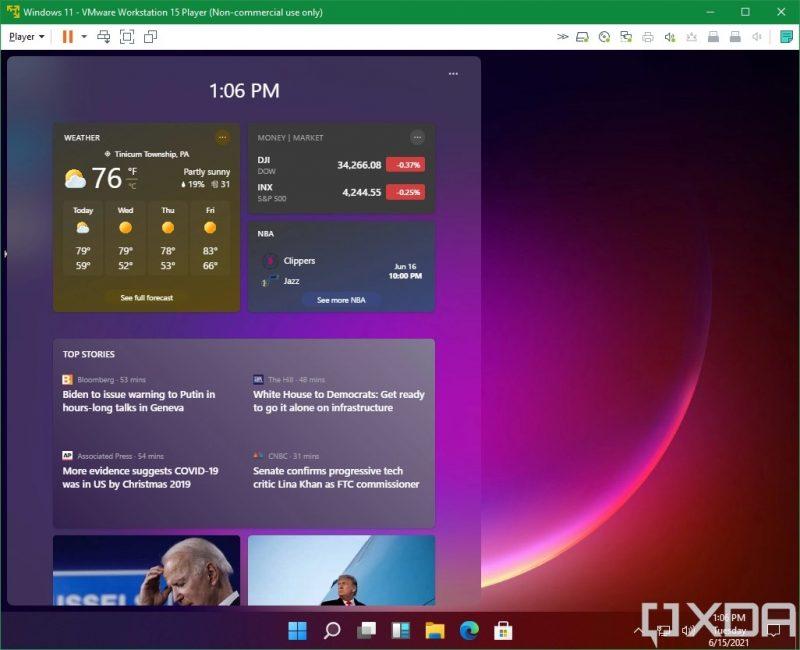 Widget-sovelluksia Windows 11:ssä. Kuva: XDA Developers.