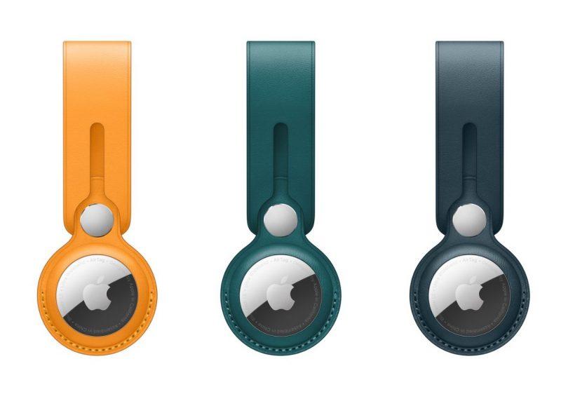 AirTag-nahkalenkin uudet värivaihtoehdot - tuliunikko, metsänvihreä ja itämerensininen.