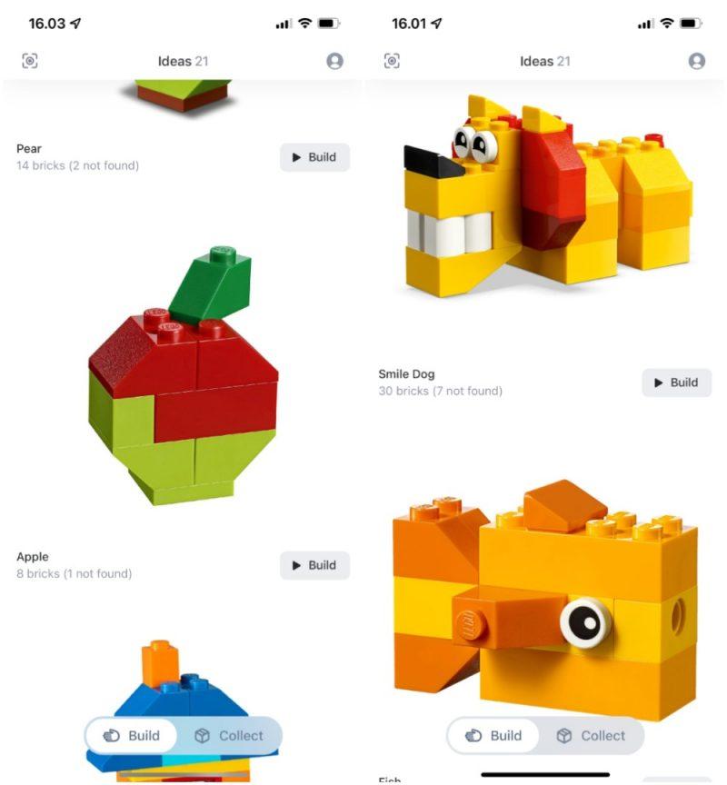 Tunnistamisen jälkeen Brickit-sovellus ehdottaa ideoita, mitä palikoista voi rakentaa.