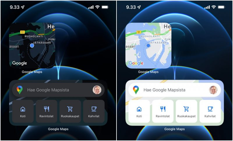 Google Mapsin widgetit tummassa ja vaaleassa tilassa.