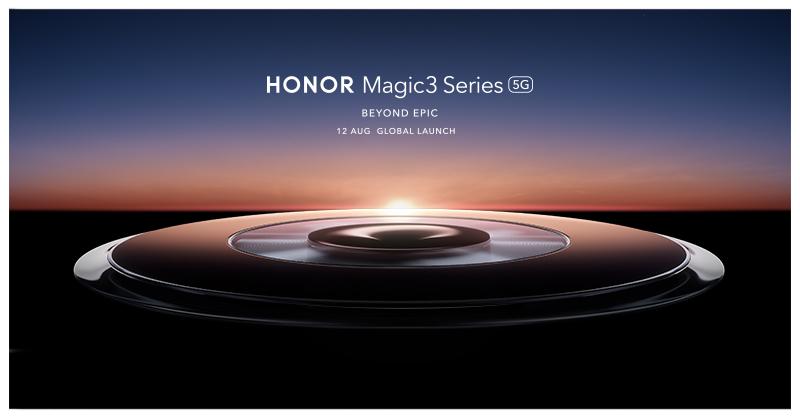 Honor Magic3 Series -julkistus tapahtuu 12. elokuuta. Tämä Honorin ennakkokuva vihjaa suuresta ympyrästä kameran ympärillä.