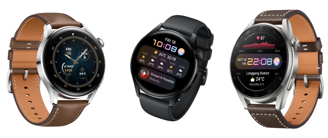 Vasemmalta oikealle: Huawei Watch 3 Classic Brown Leather Strap, Huawei Watch 3 Active Black ja Huawei Watch 3 Pro Classic Titanium Gray.