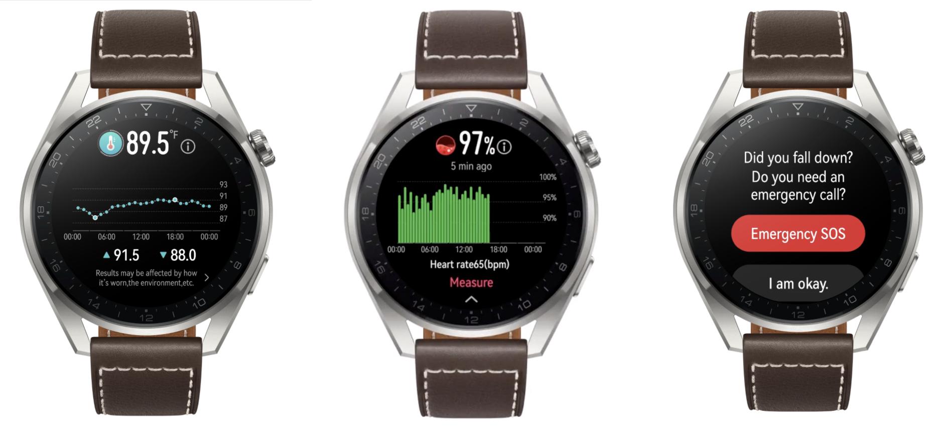 Huawei Watch 3 Pro ja lämpötilan seuranta, sykemittaus ja kaatumisen tunnistus.