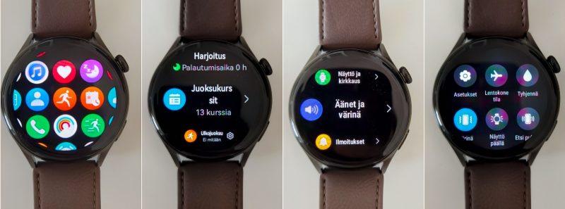 HarmonyOS:n näkymiä Watch 3:lla. Vasemmalta lukien päävalikko, treenivalikko, asetuksia ja pika-asetusnäkymä.
