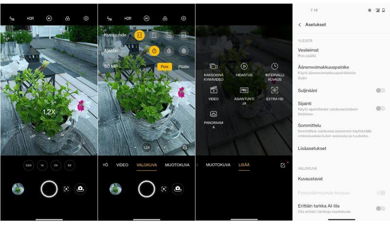 Kuvakaappauksia OnePlus Nord 2 5G:n kamerasovelluksesta.
