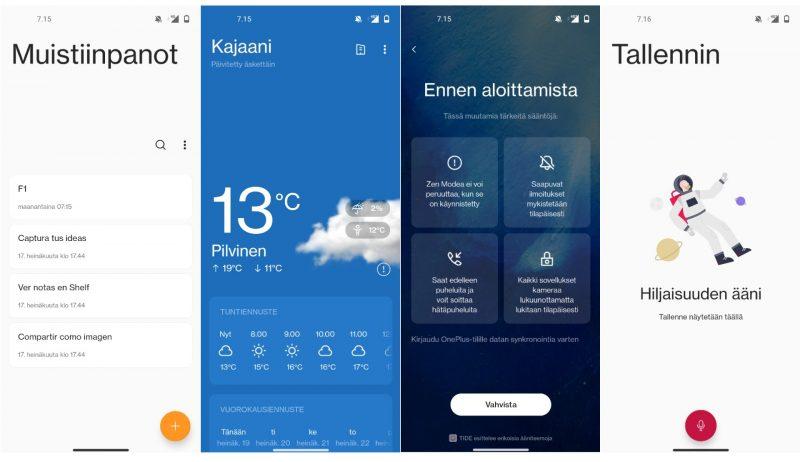 OnePlussan omia ohjelmia: muistiinpanot, sää, Zen Mode ja nauhuri.