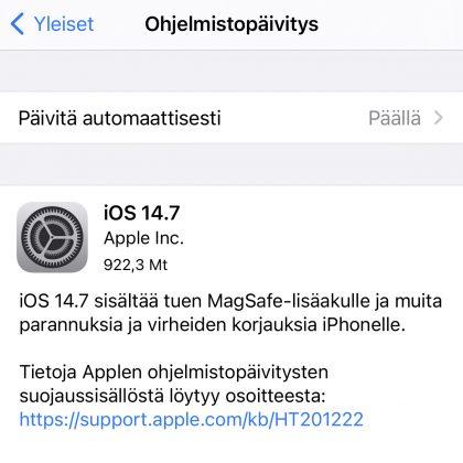 iOS 14.7 on nyt ladattavissa.