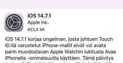 Muun muassa iOS 14.7.1 on nyt ladattavissa.