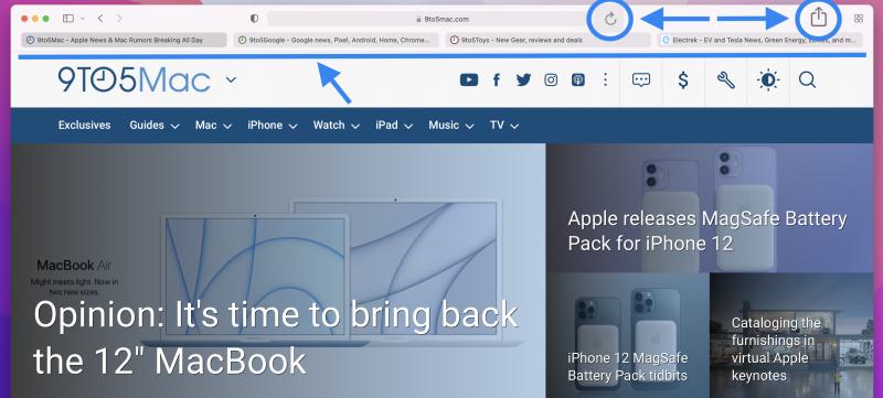macOS Monterey beta 3:ssa Safarissa on jälleen erilliset välilehti- ja haku/osoitepalkit. Myös uudelleenlataus- ja jakopainikkeet ovat suoraan saatavilla. Kuva: 9to5Mac.