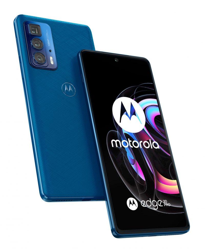 Motorola Edge 20 Pro, Blue Vegan Leather.