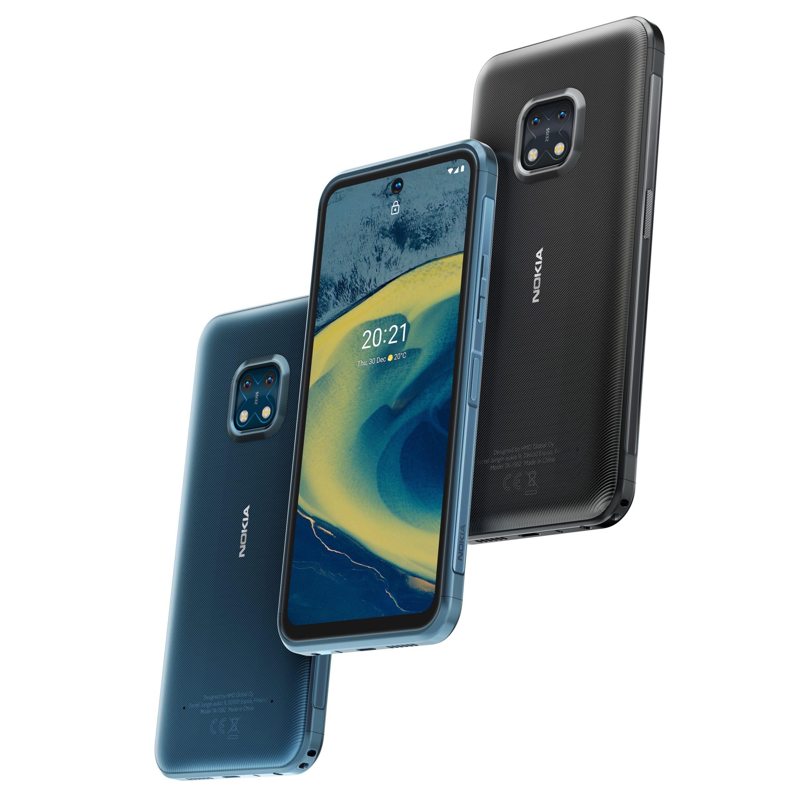 Nokia XR20:n kaksi värivaihtoehtoa, sininen ja graniitti.