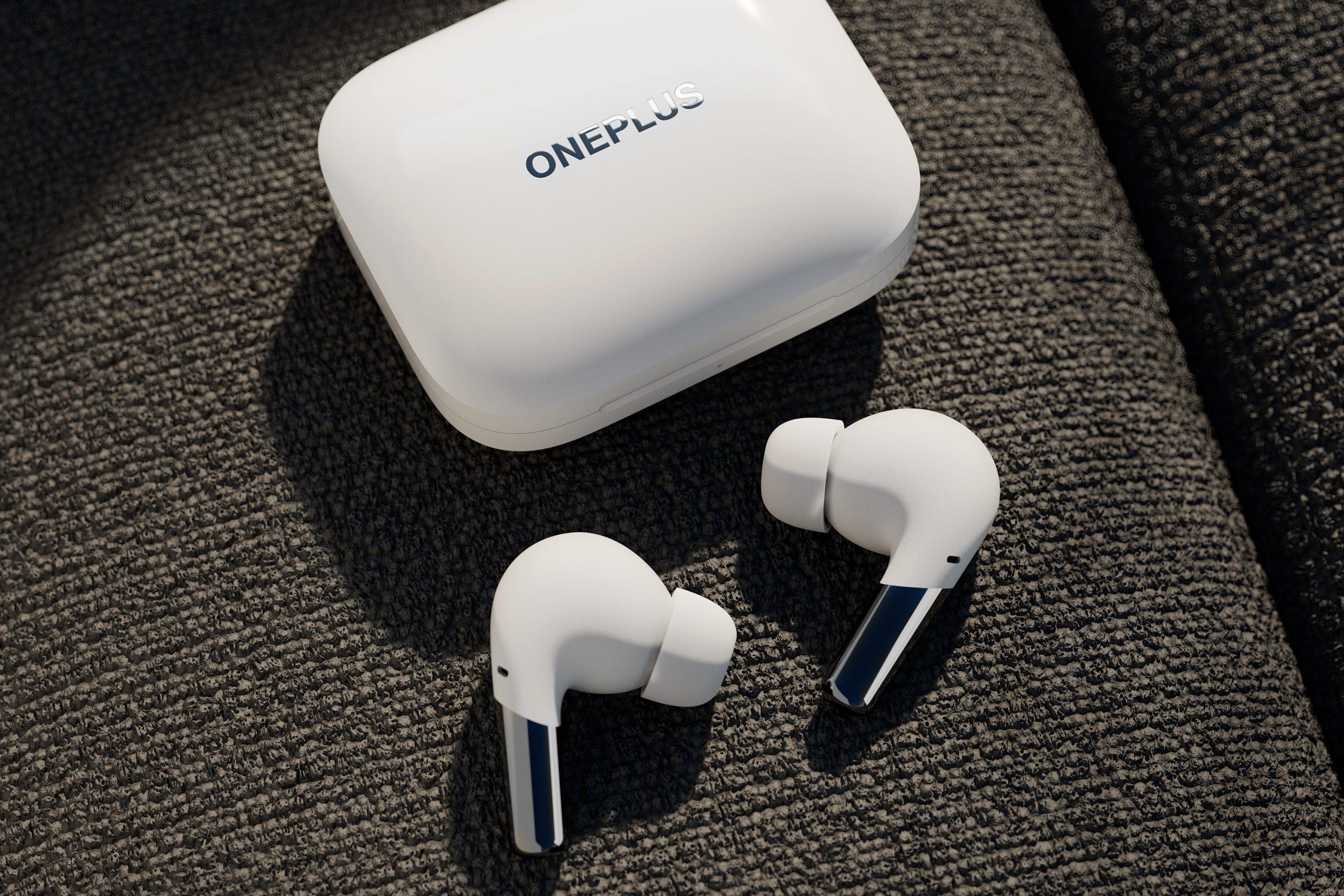 OnePlus Buds Pro -kuulokkeet ja latauskotelo valkoisena.