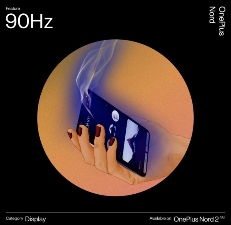 OnePlus Nord 2 5G sisältää vahvistetusti 6,43 tuuman ja 90 hertsin Fluid AMOLED -näytön.