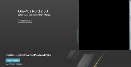 OnePlus Nord 2 5G:n julkistuksesta 22. heinäkuuta kertoo myös OnePlussan verkkosivujen kilpailu - ilmoituksen puhelimen julkistuksesta voi tilata... 22. heinäkuuta asti.