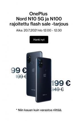 Näin OnePlus markkinoi tarjouksiaan Nord N100:sta ja Nord N10 5G:stä uutiskirjeessään.