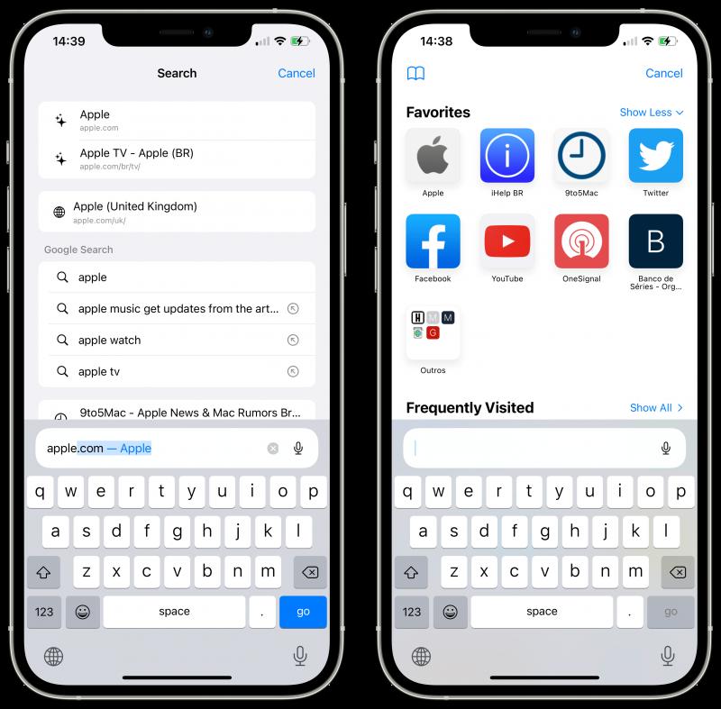 iOS 15 beta 3 toi Safariin iPhonella muutoksen. Haku- ja osoitepalkki pysyy aina alareunassa eikä enää hyppää näytön yläreunaan sitä painettaessa ja näppäimistön avautuessa. Kuva: 9to5Mac.
