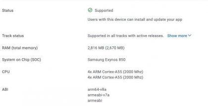 Exynos 850:llä varustetun Samsung Galaxy A12 -version tiedot Google Play Console -tietokannassa.