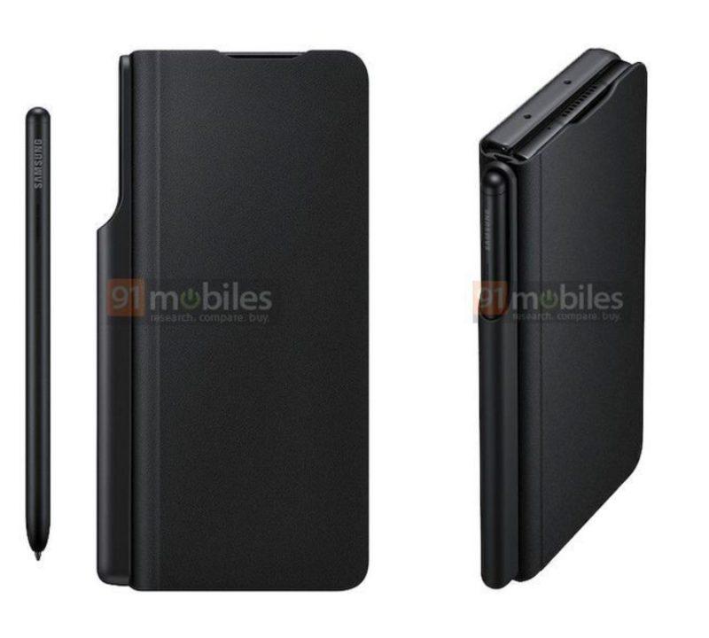 Samsung Galaxy Z Fold3 ja S Pen -kynä. Suojakuoressa on säilytyspaikka kynälle. Kuvat: 91mobiles.