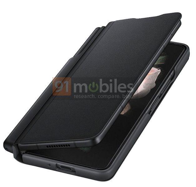 S Pen -säilytyspaikan takia Galaxy Z Fold3:n suojakuori on varsin kookas. Kuva: 91mobiles.