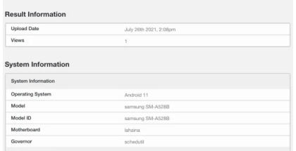 Samsung SM-528B GeekBench-suorituskykytestin tietokannassa. Kuva: MySmartPrice.