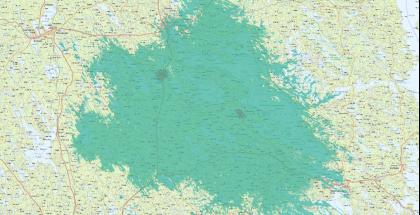 Suomen Yhteisverkon 5G-verkon tuleva peittoalue Joroisten ja Rantasalmen alueella. Kuvassa vaaleampi vihreä kuvaa 700 megahertsin taajuuden 5G-verkkoa, tummempi vihreä nopeampaa 3,5 gigahertsin taajuuden 5G-verkkoa.