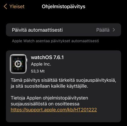 watchOS 7.6.1 on nyt ladattavissa.